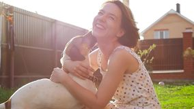 Konzept der Freundschaft und der Haustiere Glückliche junge Frau und Hund, die Spaß am Gras hat stock footage