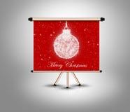 Konzept der frohen Weihnachten, Dekorationsball auf Fahne Lizenzfreie Stockfotos