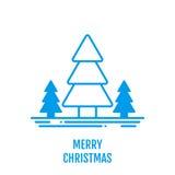 Konzept der frohen Weihnachten mit Bäumen in der Entwurfsart Stockbild