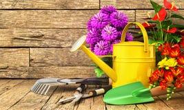 Konzept der Gartenarbeit Gartenarbeitwerkzeuge u. x28; Gießkanne, Schaufel, rak Stockbild