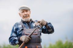Konzept der Gartenarbeit, Landwirtschaft Älteres Mannlandwirtporträt im Gemüsegarten lizenzfreie stockfotografie