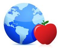 Konzept der gesunden Ernährung rund um den Globus Stockfotos