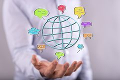 Konzept der globalen Kommunikation Stockbilder