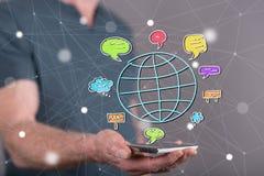 Konzept der globalen Kommunikation Stockfotografie