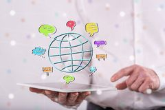 Konzept der globalen Kommunikation Stockfotos