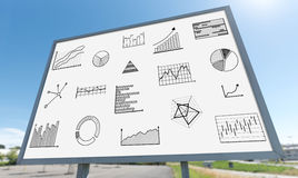 Konzept der grafischen Analyse auf einer Anschlagtafel Lizenzfreies Stockbild
