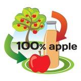 Konzept der Herstellung des Apfelsaftes von den Äpfeln Stockbilder