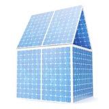 Konzept der Illustration 3D eines Hauses gemacht von den Sonnenkollektoren Alternative Stromquelle des Konzeptes Eco-Energie, sau Stockfotografie