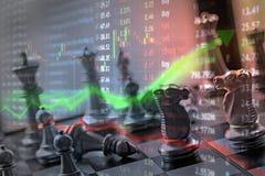Konzept der Investierung und der Börse gewinnen und Gewinne mit verblaßtem c stockbild
