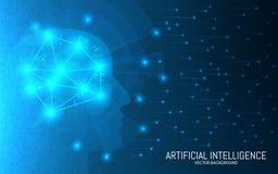 Konzept der künstlichen Intelligenz Abstrakter futuristischer Hintergrund Großes Datendesign Kopf mit Verbindungen auf einer Zwei vektor abbildung
