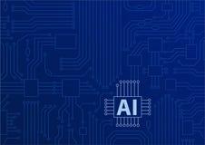 Konzept der künstlichen Intelligenz/AI als Hintergrund mit CPU/Mikrochips Stockfoto