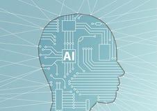 Konzept der künstlichen Intelligenz/AI Vektorillustration des Gesichtsschattenbildes mit Computerprozessor als künstlichem Gehirn Lizenzfreie Stockfotografie