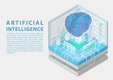 Konzept der künstlichen Intelligenz mit digitalem Gehirn als isometrischer Vektorillustration stockbilder