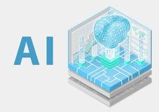 Konzept der künstlichen Intelligenz mit digitalem Gehirn als isometrischer Vektorillustration lizenzfreies stockbild
