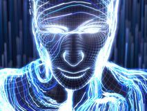 Konzept der künstlichen Intelligenz mit virtuellem menschlichem Avatara Abbildung 3D Lizenzfreies Stockfoto