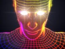 Konzept der künstlichen Intelligenz mit virtuellem menschlichem Avatara Abbildung 3D Stockbilder