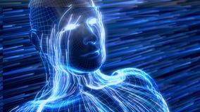 Konzept der künstlichen Intelligenz mit virtuellem menschlichem Avatara Abbildung 3D Stockbild