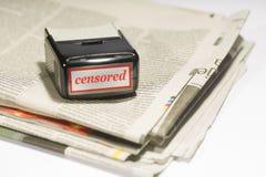 Konzept der Kontroverse der Aussage und der Freiheit der Aussage in den Medien Lizenzfreies Stockfoto
