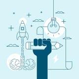 Konzept der Kreativität und der Inspiration im Schreiben oder in der Zeichnung Lizenzfreie Stockbilder