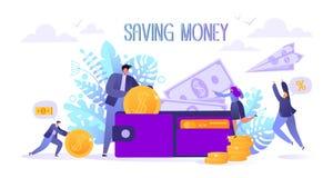 Konzept der Landungsseite auf Geschäft und Finanzierung, Rettungsgeldthema Karriere, Gehalt, Einkommen profitieren Flache Charakt stock abbildung