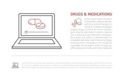 Konzept der medizinischen Behandlung in der modernen flachen Linie Art Fahne für Website oder Zeitschrift Vektorzeichen für Netzg Stockfotos