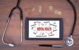 Konzept der psychischen Gesundheit Diagramm mit Schlüsselwörtern und Ikonen Tabletgerät auf einem Holztisch Stockbild