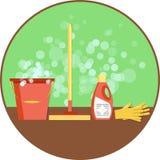 Konzept der Reinigung Flacher Vektorsatz Reinigungswerkzeuge und Haushaltsversorgungen Minimale Vektorgrafik für Website, Plakat, Stockbilder