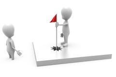 Konzept der roten Fahne des Mannes 3d Stockfoto