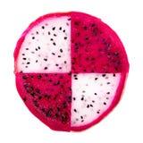 Konzept der roten und weißen Drachefrucht der Teilscheibe, des Pitaya oder des Cact Stockfoto