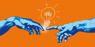Konzept der Schaffung und der Kommunikation, mit den Händen von Adam und von Gott, der eine Idee findet stock abbildung