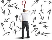 Schwierige Wahlen eines Geschäftsmannes Stockbilder