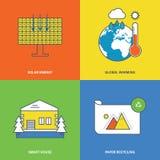 Konzept der Solarenergie, globale Erwärmung, intelligentes Haus, Papierwiederverwertung Lizenzfreie Stockfotos