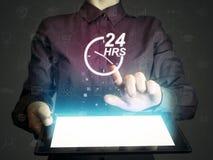 Konzept der 24-stündigen Unterstützung Lizenzfreie Stockfotos
