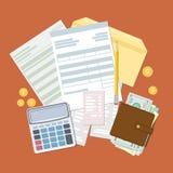 Konzept der Steuerzahlung und -rechnung Lizenzfreie Stockfotos