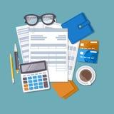 Konzept der Steuerzahlung und -rechnung Stockfoto