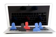 Konzept der Teamwork, der Leute und der Ikonen Lizenzfreies Stockfoto