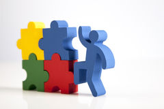 Konzept der Teamwork, der Leute und der Ikonen Stockfoto