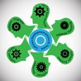 Konzept der Teamwork, des Geschäfts und der technischen Teams mit verschiedenen Rollen Lizenzfreie Stockbilder