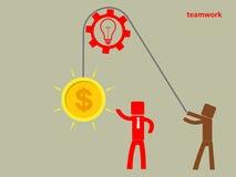 Konzept der Teamwork - ein Mann halten ein Gehirn auf einem Seil Gewinn c stock abbildung