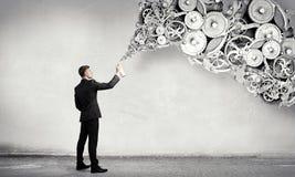 Konzept der Teamwork und der Zusammenarbeit Gemischte Medien Stockbild