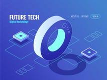Konzept der Technologie von Zukunft, Serverraum, EnergieKraftwerk, große Datenverarbeitung, Informationswissenschaftskreis lizenzfreie abbildung