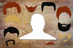 Konzept der unterschiedlichen männlichen Frisur Lizenzfreies Stockbild