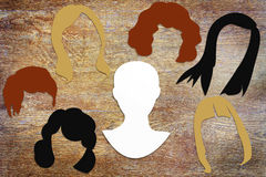 Konzept der unterschiedlichen weiblichen Frisur Stockfotos