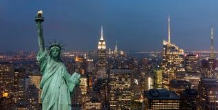 Konzept der Vereinigten Staaten von Amerika mit Freiheitsstatuen Konzept Stockbilder