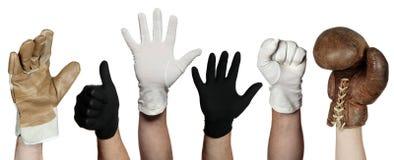Konzept der verschiedenen Handschuhe Lizenzfreies Stockfoto