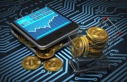 Konzept der virtuellen Geldbörse mit Bitcoins und des Warenkorbes auf Leiterplatte Stockbild