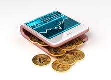 Konzept der virtuellen Geldbörse und des Bitcoins Stockbild