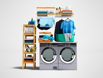 Konzept der waschenden Kleidungswaschmaschine und der trockeneren und farbigen Tücher und des Wäschekorbes mit schmutziger Kleidu stock abbildung