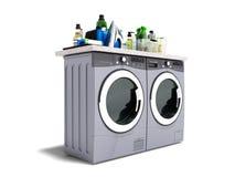 Konzept der Waschmaschine und des Trockners mit Reinigungsmittel lokalisierte Wiedergabe 3d auf weißem Hintergrund mit Schatten vektor abbildung