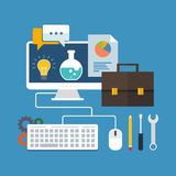 Konzept der wirtschaftlichen Entwicklung Flaches Design stilvoll Lizenzfreies Stockfoto